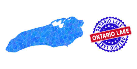 Ontario Lake map polygonal mesh with filled triangles, and textured bicolor stamp seal. Triangle mosaic Ontario Lake map with mesh vector model, triangles have different sizes, and positions,