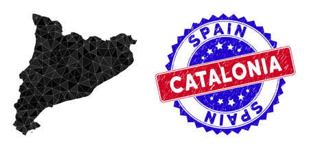 Catalonia map polygonal mesh with filled triangles, and textured bicolor seal. Triangle mosaic Catalonia map with mesh vector model, triangles have different sizes, and positions, and color tones.