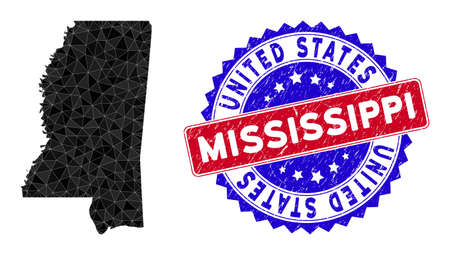 Mississippi State map polygonal mesh with filled triangles, and unclean bicolor stamp seal. Triangle mosaic Mississippi State map with mesh vector model, triangles have variable sizes, and positions,