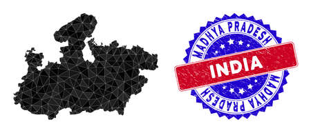 Madhya Pradesh State map polygonal mesh with filled triangles, and distress bicolor stamp. Triangle mosaic Madhya Pradesh State map with mesh vector model, triangles have various sizes, and positions, Illustration