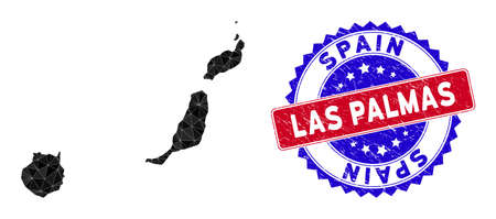 Las Palmas Province map polygonal mesh with filled triangles, and rubber bicolor watermark. Triangle mosaic Las Palmas Province map with mesh vector model, triangles have variable sizes,