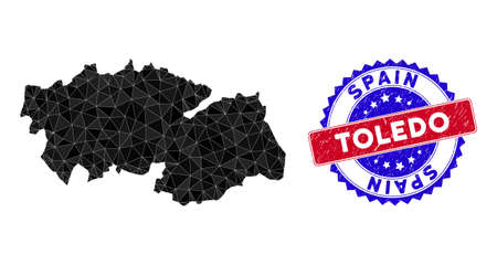 Toledo Province map polygonal mesh with filled triangles, and scratched bicolor seal. Triangle mosaic Toledo Province map with mesh vector model, triangles have randomized sizes, and positions, Illustration