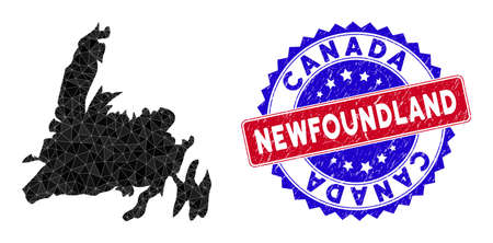 Newfoundland Island map polygonal mesh with filled triangles, and scratched bicolor stamp. Triangle mosaic Newfoundland Island map with mesh vector model, triangles have various sizes, and positions,