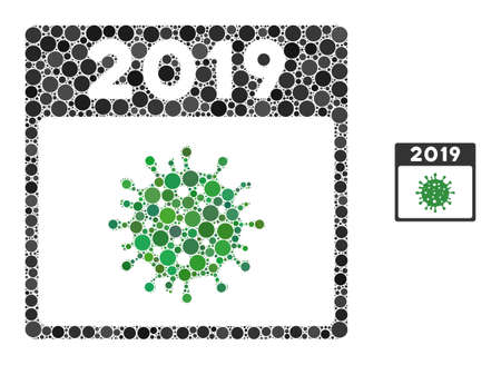 2019 covid calendar day mosaic of round pixels in variable sizes and color tints. Vector round dots are composed into 2019 covid calendar day mosaic. Vektorové ilustrace