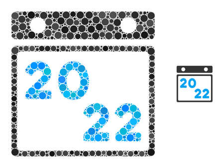 2022 calendar composition of round dots in different sizes and color tints. Vector round dots are united into 2022 calendar mosaic. 2022 calendar isolated on a white background.