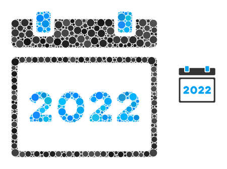 2022 calendar mosaic of round dots in various sizes and color tints. Vector round dots are composed into 2022 calendar composition. 2022 calendar isolated on a white background.