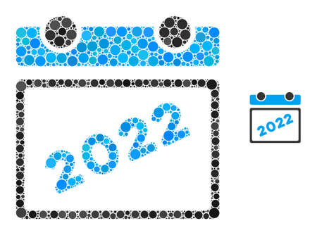 2022 calendar composition of round dots in variable sizes and color tints. Vector round dots are grouped into 2022 calendar illustration. 2022 calendar isolated on a white background.
