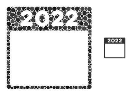 2022 calendar composition of round dots in variable sizes and color tinges. Vector round dots are grouped into 2022 calendar composition. 2022 calendar isolated on a white background. 일러스트