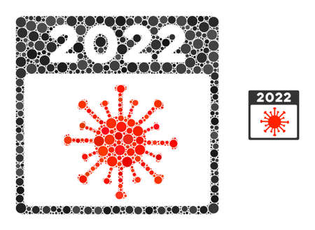 2022 covid calendar page collage of filled circles in variable sizes and shades. Vector filled circles are composed into 2022 covid calendar page composition.