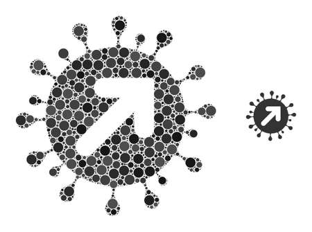 Virus vector composition of round pixels in variable sizes and color tints. Vector circle elements are grouped into virus vector composition. Virus vector isolated on a white background.