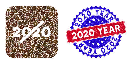 Vector mosaic no 2020 year and grunge bicolor 2020 Year stamp. Mosaic no 2020 year constructed as hole from rounded square with coffee beans.