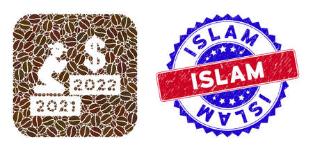 Vector mosaic gentleman pray dollar 2021-2022 and grunge bicolor Islam stamp. Mosaic gentleman pray dollar 2021-2022 created as carved shape from rounded square of coffee beans.