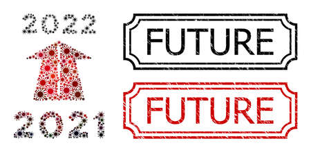 Mosaic 2022 future road constructed from covid-2019 icons, and grunge Future rectangle stamps with notches.