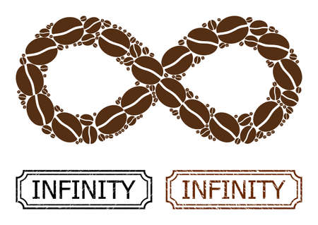 Mosaic infinity organized from cocoa grain, and grunge Infinity rectangle seal stamps with notches. Vector coffee elements are united into abstract collage infinity icon with brown color.