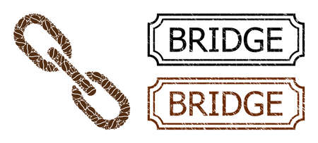 Collage chain composed of cocoa grain, and grunge Bridge rectangle seals with notches. Vector coffee elements are composed into abstract collage chain icon with brown color.
