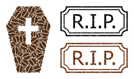 Mosaic coffin united from cocoa seeds, and grunge R.I.P. rectangle seals with notches. Vector coffee icons are united into abstract mosaic coffin icon with brown color.