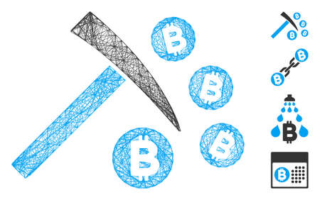 Vector network Bitcoin mining hammer. Geometric linear frame flat network made from Bitcoin mining hammer icon, designed from crossed lines. Some other icons are added.
