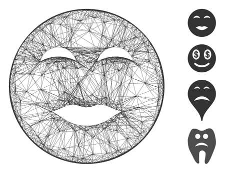 Vector wire frame lady pleasure smiley. Geometric wire frame flat network made from lady pleasure smiley icon, designed with crossed lines. Some additional icons are added.