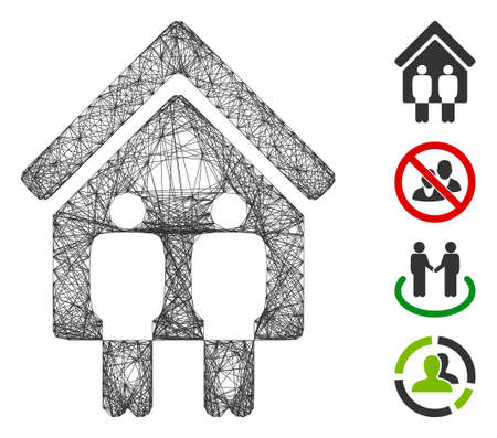 Vector wire frame living persons. Geometric hatched frame 2D network generated with living persons icon, designed with crossed lines. Some additional icons are added.