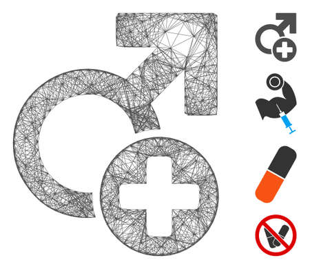 Vector wire frame male medicine. Geometric wire frame 2D network generated with male medicine icon, designed with intersected lines. Some additional icons are added.