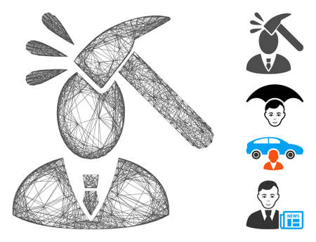 Vector net manager shock. Geometric linear carcass 2D net made from manager shock icon, designed from intersected lines. Some similar icons are added.