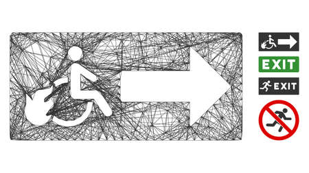 Vector network patient exit. Geometric linear frame 2D network generated with patient exit icon, designed with crossing lines. Some similar icons are added.