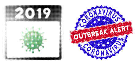 Pixel halftone 2019 covid calendar day icon, and Coronavirus Outbreak Alert rubber stamp seal. Coronavirus Outbreak Alert seal uses bicolor rosette form, red and blue colors.