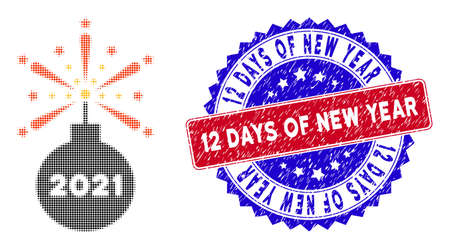 Dot halftone 2021 fireworks detonator icon, and 12 Days of New Year rough stamp. 12 Days of New Year stamp uses bicolor rosette template, red and blue colors.