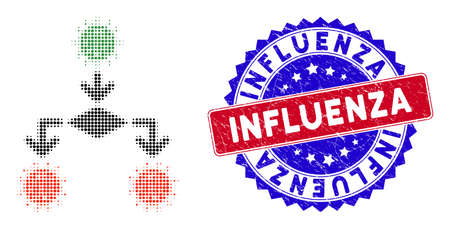 Pixel halftone coronavirus replication icon, and Influenza stamp seal. Influenza stamp seal uses bicolor rosette form, red and blue colors.