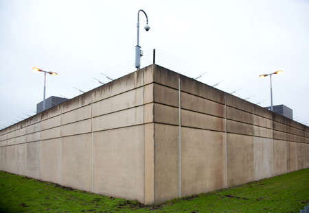 jail background: corner formed by two walls of a prison in The Netherlands Editorial