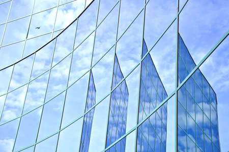 four reflections of sky and clouds in office building with passing gull Stock Photo - 18517442