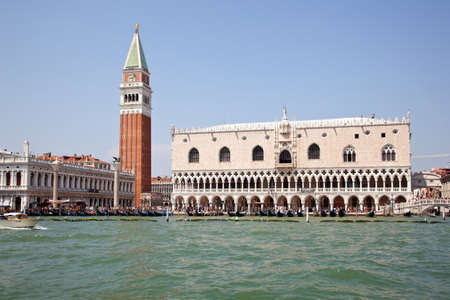 san marco and doge palace in Venice seen from the water Stock Photo