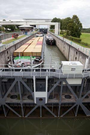 sluice: trade ships in sluice in the Netherlands