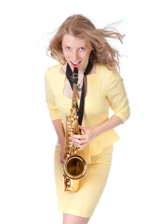 sexy girl with saxophone against white background photo