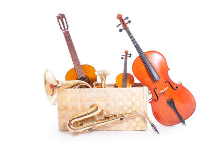 a lot of musical instruments in a box against white background photo