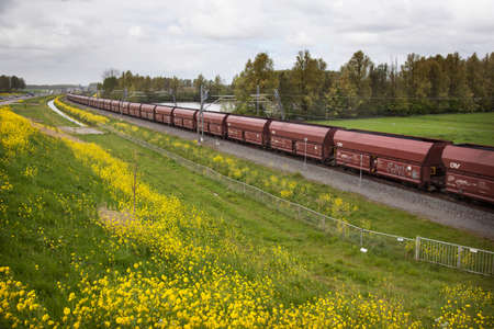 long freight train in the Netherlands on the track of the Betuwelijn