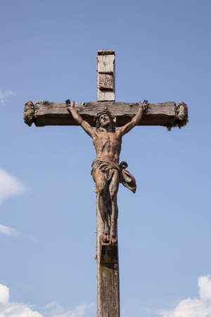 statue of Jesus on the cross in the french region Jura