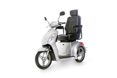 gray motorised scooter for elderly people in studio with white background