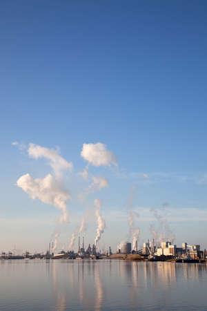 factory of Tata steel in the dutch town of IJmuiden seen from noorzeekanaal