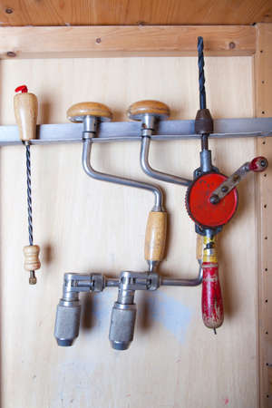 old fashioned: old fashioned drills in closet Stock Photo