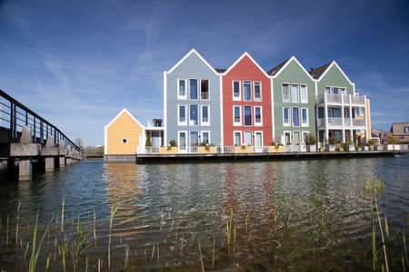 house float on water: floating wooden houses in the neighbourhood Rietveld in the dutch town of houten near utrecht Editorial