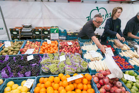 breda: people sell fruit and vegetables on market in the dutch city of Breda