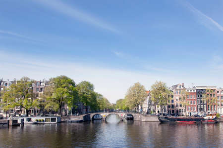 amstel: View on prinsengracht from river amstel in amsterdam centre Stock Photo