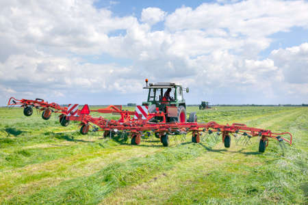 turner: red hay turner in green meadow in the netherlands Stock Photo