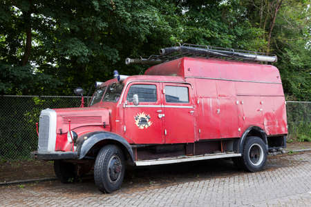 mercedes: very old red mercedes fire truck parked in the netherlands Editorial