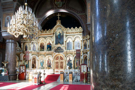 bible altar: interior of uspensky cathedral in helsinki capital of finland Editorial