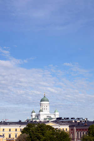engel: white helsinki cathedral towers above city centre Stock Photo