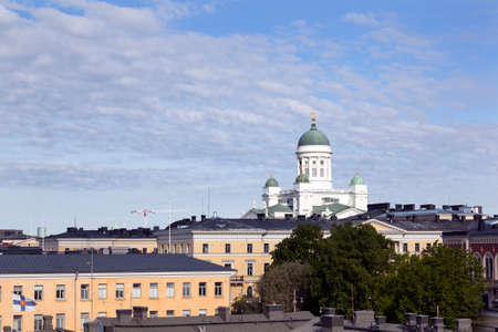 engel: white and green helsinki cathedral towers above city centre Stock Photo