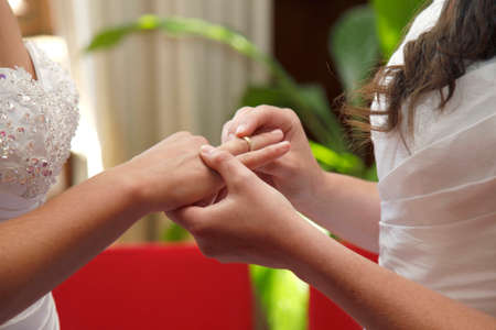 lesbienne: deux épouses se marier échanger des anneaux en mairie Banque d'images