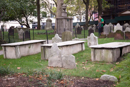 old gravestondes in st pauls churchyard near ground zero in new york city